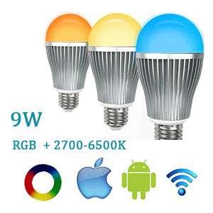 LED žiarovka Wifi RGBW E27-9W