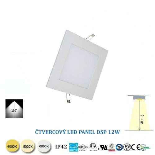 Štvorcový LED panel 12W