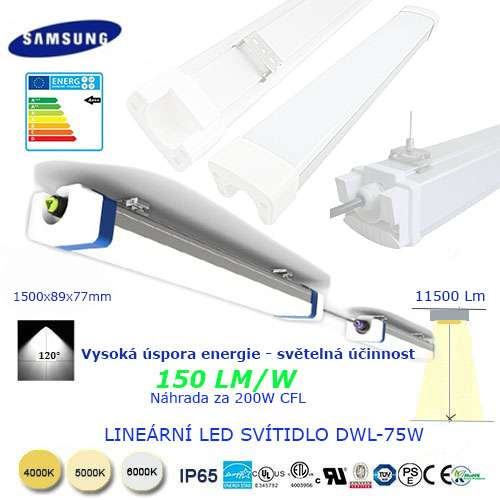 Lineárne LED svietidlo DWL75W