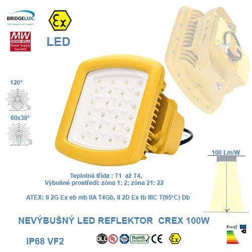 Nevýbušný LED reflektor  CREX-100W